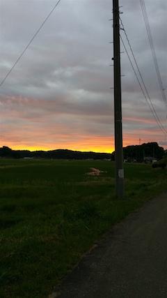 20160614山からの帰り道の様子夕焼け空2