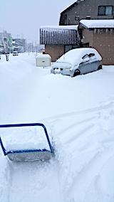20170211駐車場の雪寄せ途中の様子昼過ぎ