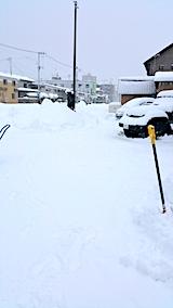 20170211駐車場の雪寄せ途中の様子夕方2