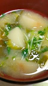 20170411晩ご飯豆苗とくるまふと青菜のみそ汁