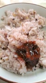 20170420お昼ご飯十六穀米と梅干し
