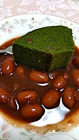 20170712デザート抹茶ロールと小豆の煮物