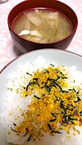 20170811晩ご飯ふりかけご飯ナスと豆富と油揚げのみそ汁
