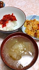20170903晩ご飯キムチご飯ユウガオスープ
