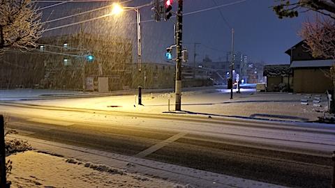 20171120夜のはじめ頃雪が降り積もり始める1
