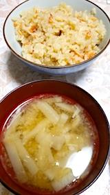 20171201晩ご飯海老の炊き込みご飯とみそ汁
