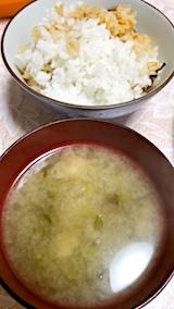 20171208晩ご飯ダイコンの葉っぱと油揚げのみそ汁