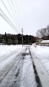 20180215山からの帰り道の様子凍りついた道路