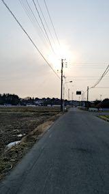 20180313山からの帰り道の様子上北手百崎入り口から夕日を望む