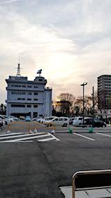 20180417秋田市役所駐車場から望んだ夕日