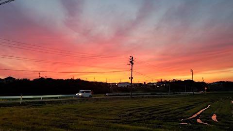 2018061920山からの帰り道の様子夕焼け空3