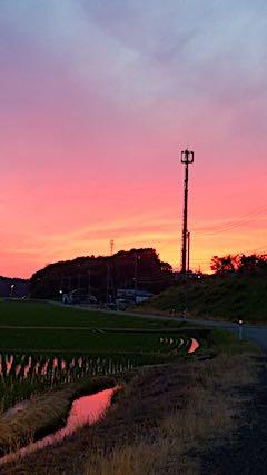 2018061山からの帰り道の様子夕焼け空2