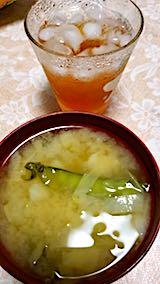 20180630晩ご飯キャベツとサヤエンドウのみそ汁