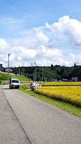 20180914秋田市上北手地区で稲刈り始まる1