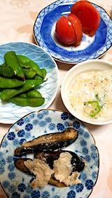 20181015晩ご飯枝豆とオクラ酢納豆