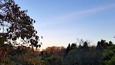 20181018山の様子夕日が山に1