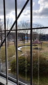 20190112速歩途中のコミセン体育館内から望んだ太平川