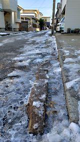 20191209外の様子昼前路地に溜まった雪どけ水が凍る