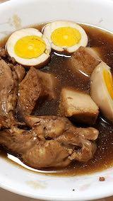 20191209お昼ご飯中華風厚揚げ豆富と鶏手羽元ゆで卵添え