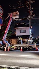 20200709東大通り夜間の電気工事1