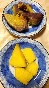 20210405晩ご飯サツマイモとパイナップル